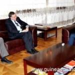 Minister of Foreign Affiars for Equatorial Guinea Agapito Mba Mokuy with the U.S. Ambassador Mark Aquino and Matt Hergott