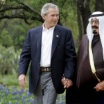 Former President George Bush with Saudi King Abdullah