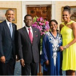 U.S. President Barack Obama, President of Equatorial Guinea Teodoro Obiang Nguema Mbasogo, Equatorial Guinea First Lady Mrs. Constancia Mangue de Obiang Nsue, and US First Lady Michelle Obama.
