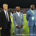 The heads of Equatorial Guinean and Spanish football, Angel Villar, Domingo Mituy and Lindo Mbomio